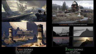 آموزش نقاشی دیجیتال 4 منظره در Photoshop