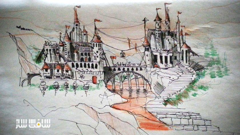 اسکچ دستی قلعه